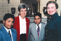 Peggy Soule, 2 children and Hillary Clinton